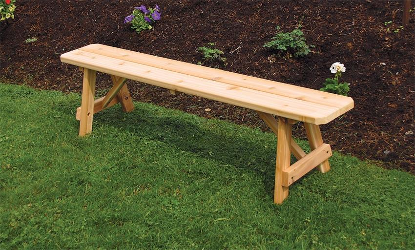 Amish Cedar Wood Traditional Backless Outdoor Bench