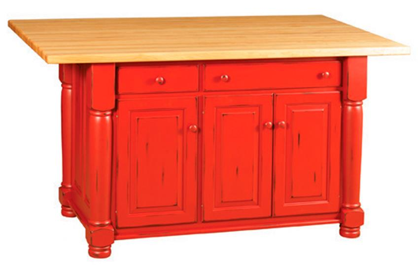 Amish Turned Leg Kitchen Island with Three Cabinets and Two Drawers