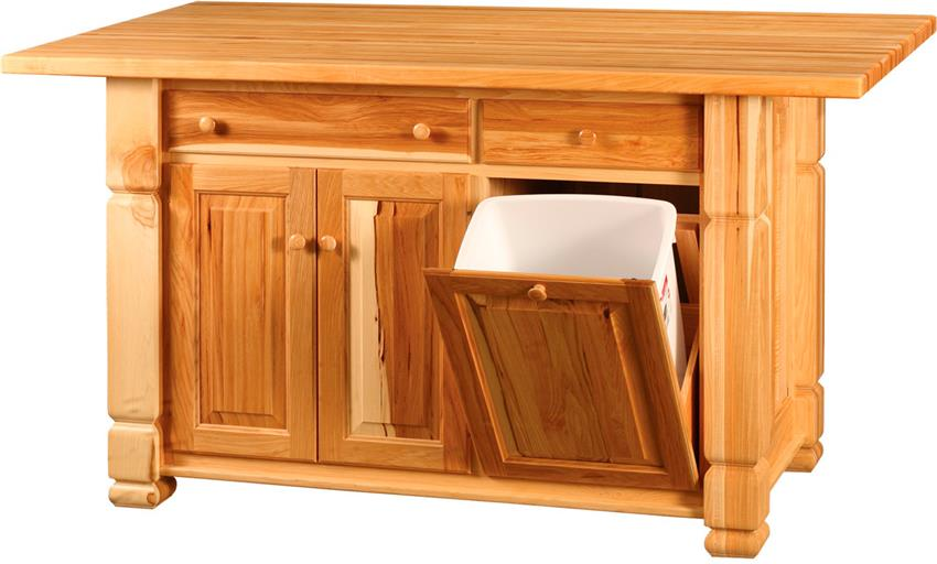 Amish Turned Leg Kitchen Island with Wastebasket Tilt Out