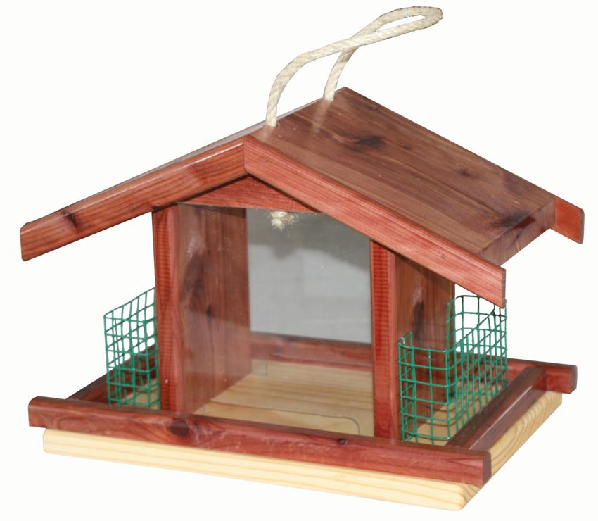 Amish Cedar Tray Bird Feeder with Suet Cages
