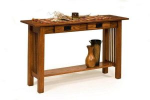 Amish American Mission Sofa Table with 2 Drawers