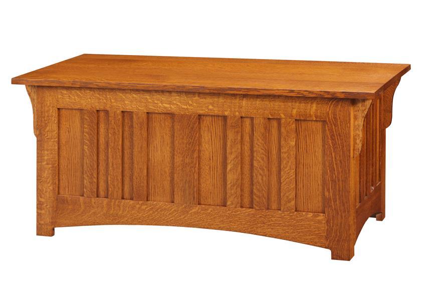 Amish Caledonia Shaker Panel Bed Quarter Sawn White Oak Wood Mission Hope Chest