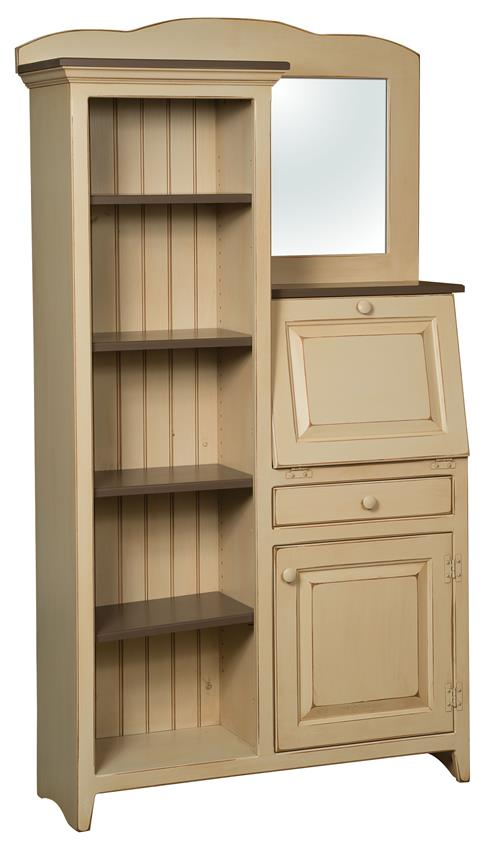 Amish Side by Side Pine Secretary Desk and Bookcase
