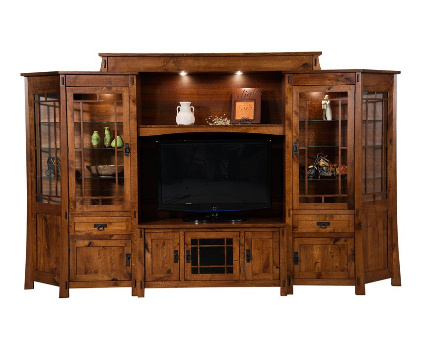 Amish Modesto Six Piece Entertainment Center Wall Unit