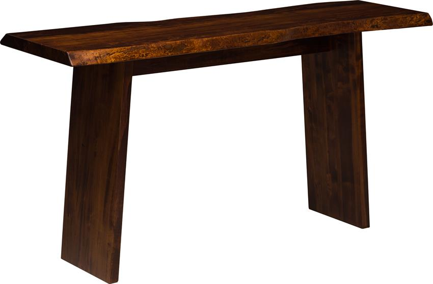 Live Edge Sofa Table with Wood Angled Base