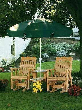 Amish Pine Wood High Back Heart Double Glider Tete-A-Tete
