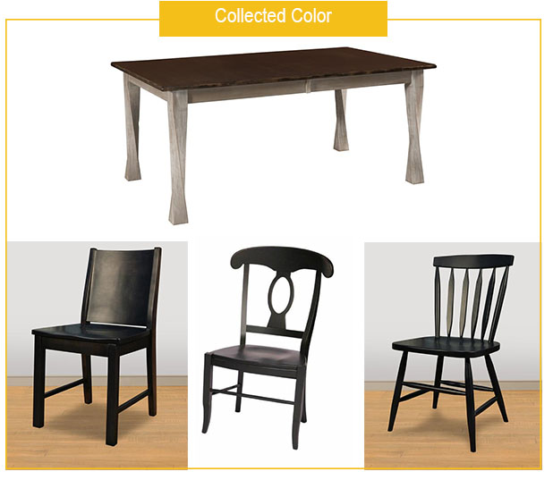 Lexington Table with French Country, and Ruff Sawn Sparrow and Meta Dining Chairs