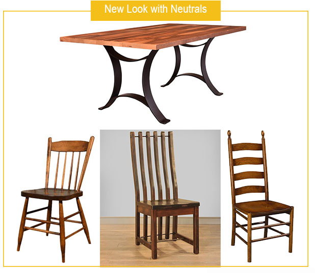 Reclaimed Golden Gate Dining Table with Ruff Sawn Turnbuckle and Farmhouse Dining Chairs, and Shaker Ladderback Chair