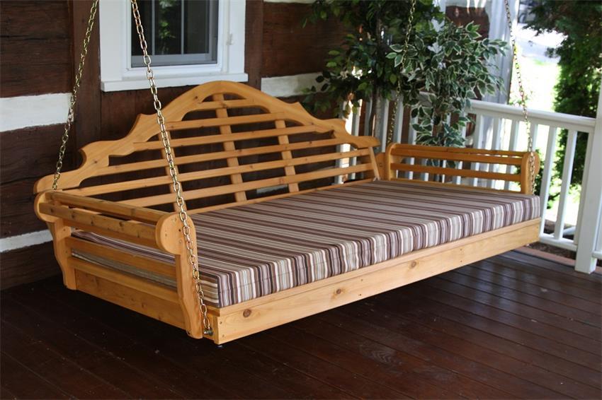 "Amish Cedar Wood 75"" Marlboro Single Mattress Swing Bed"