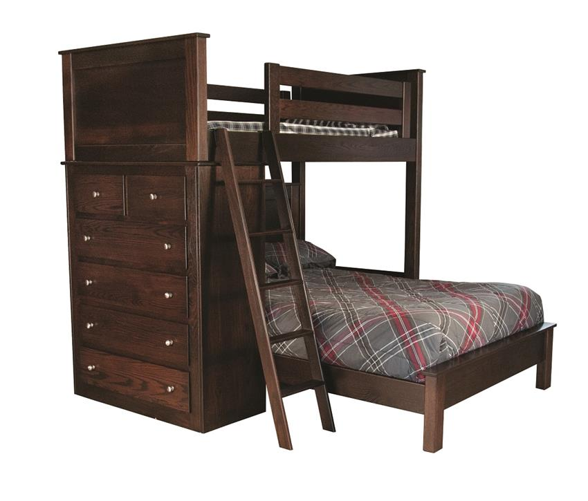 Amish Double Bunk Bed with Drawers