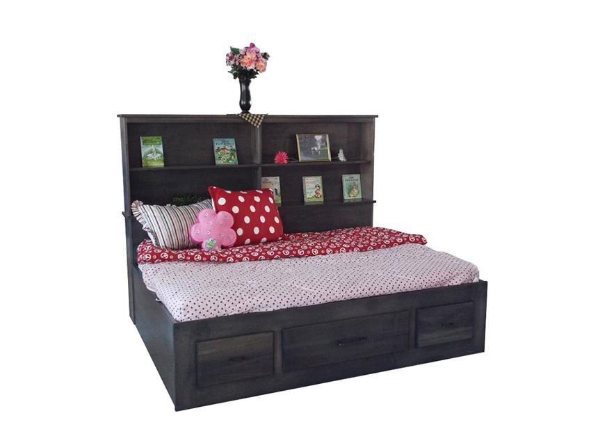 Amish Brooklyn Platform Bed with Bookshelf