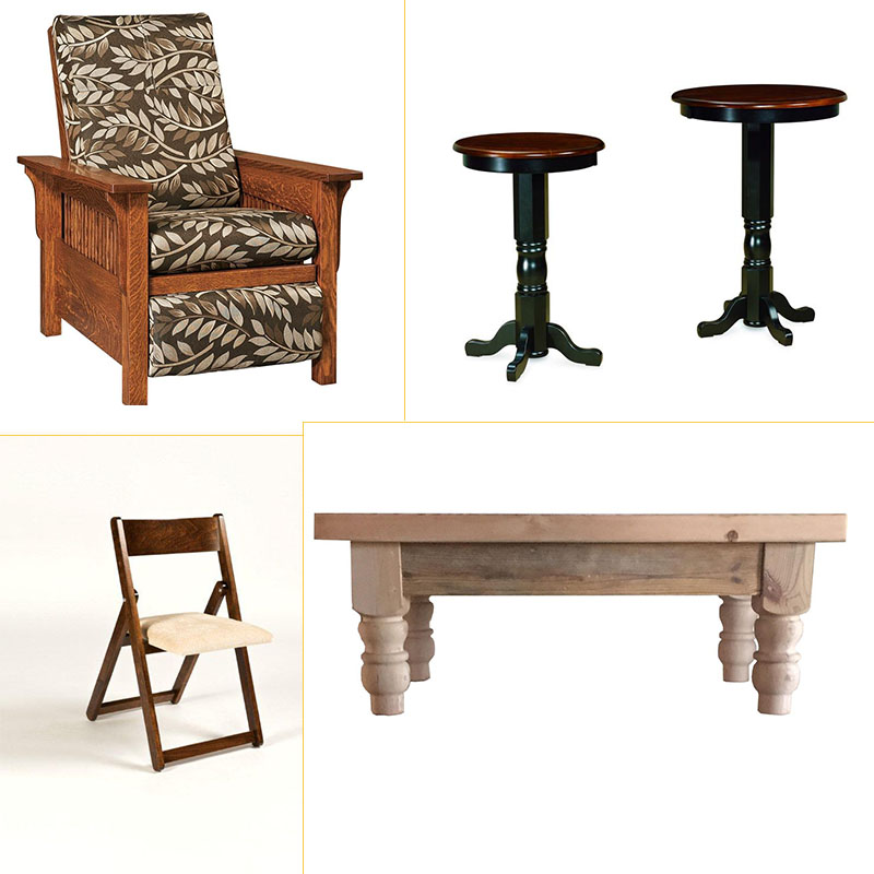 Amish Lancaster Mission Recliner, Amish Bistro Table, Amish Folding Dining Chair, and Rustic Barn Wood Coffee Table