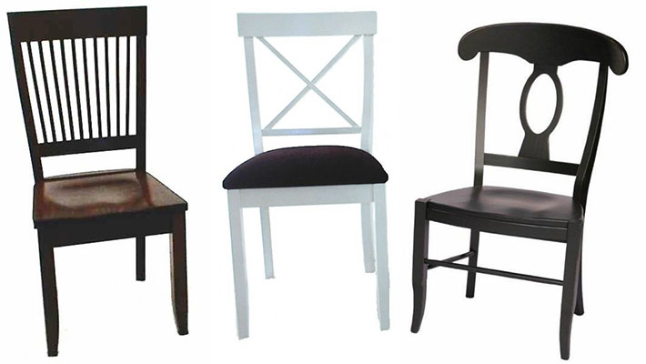 Amish Hearthside Dining Room Chair, Amish Lacroix Cross Back Dining Room Chair, and Amish French Country Chair
