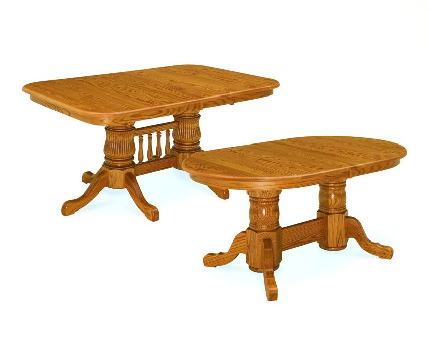 Amish Double Pedestal Table