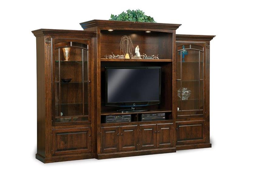 Amish Victorian Three Piece Entertainment Center Wall Unit with Bookcases