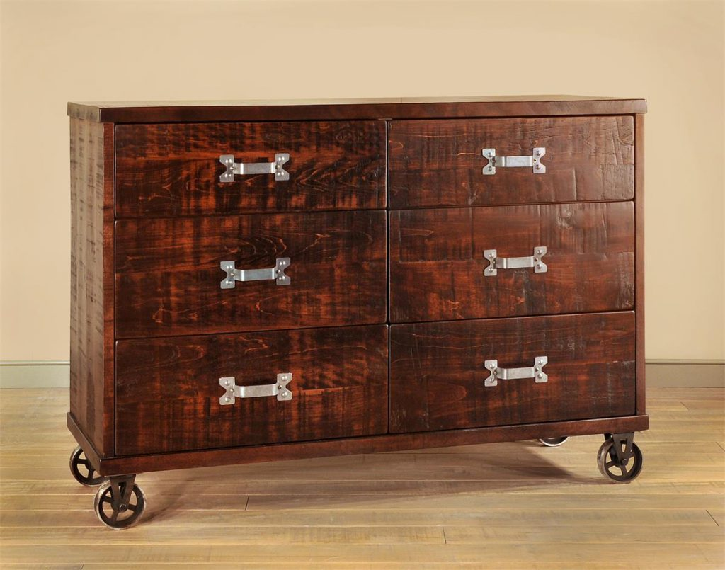Ruff Sawn Steam Punk Six Drawer Dresser