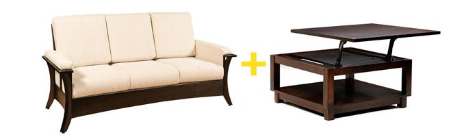 Amish Hesston Sofa and Amish Urban Coffee Table