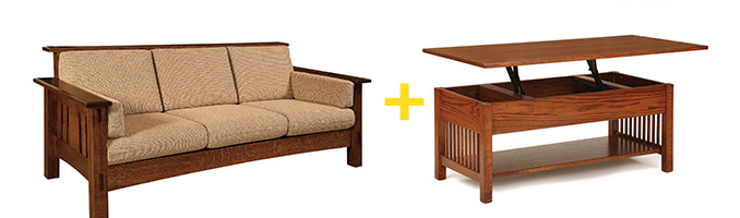 Amish McCoy Sofa and Classic Mission Rectangular Coffee Table with Lift Top