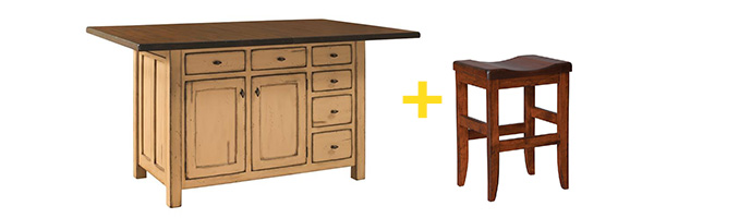 Amish Mission Kitchen Island and Amish Clifton Mission Backless Bar Stool