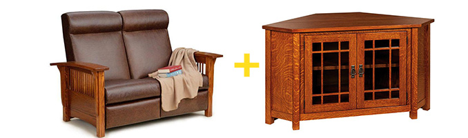 Amish Paradise Mission Reclining Love Seat and Amish McCoy Mission Corner TV Cabinet
