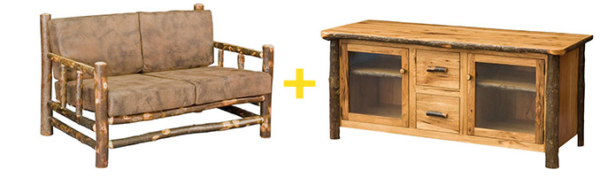 """Amish Rustic Hickory Lodge Loveseat and Amish Rustic 60"""" Plasma TV Console"""