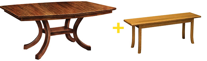 Extended Carlisle Shaker Table and Bench