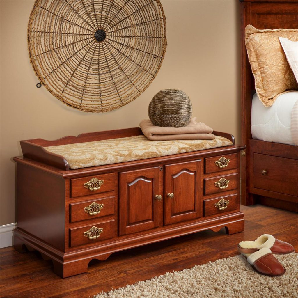 Amish Seat Rail Cherry Wood Fancy Front Hope Chest