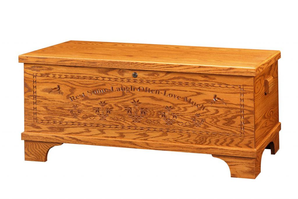 Amish Oak Wood Medium Flat Top Hope Chest