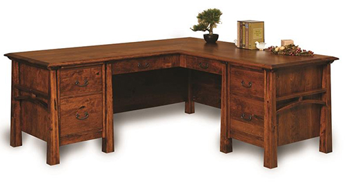 Amish Boulder Creek Eight-Drawers L-Desk with Finished Backside