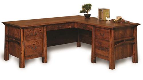 Amish Boulder Creek Eight-Drawers L-Desk with Finished Backside