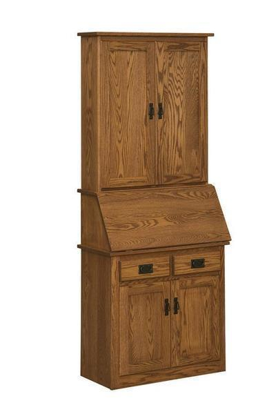 Amish Mission Secretary Desk with Full Door Hutch
