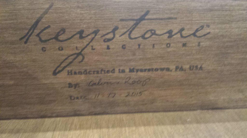 Keystone drawer with signature