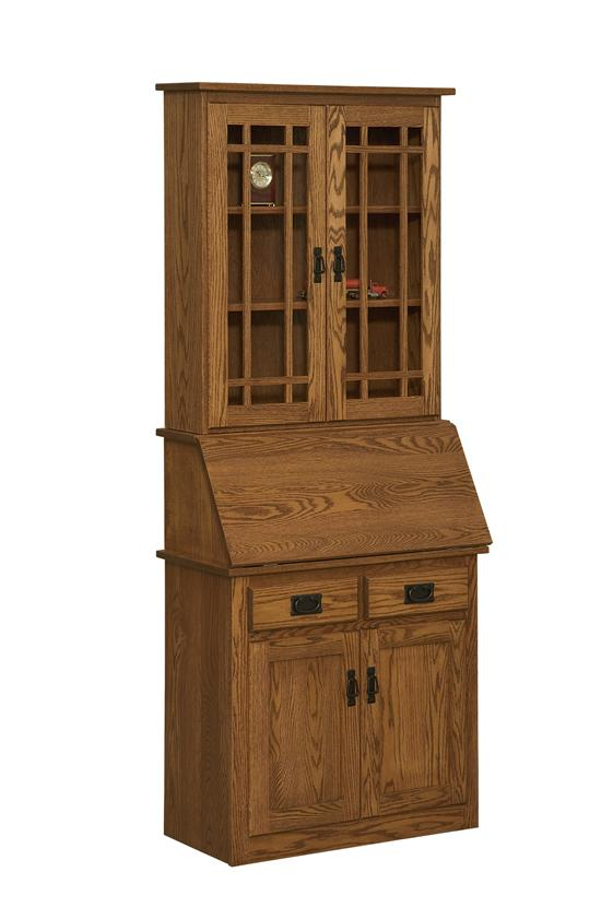 Amish Arts and Crafts Secretary Desk with Glass Doors