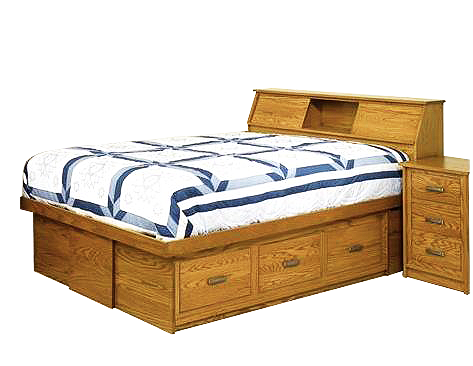 Amish Mission Bed with Bookcase Headboard