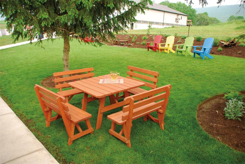 """Amish Pine Wood 43"""" Square Table with 4 Backed Benches"""
