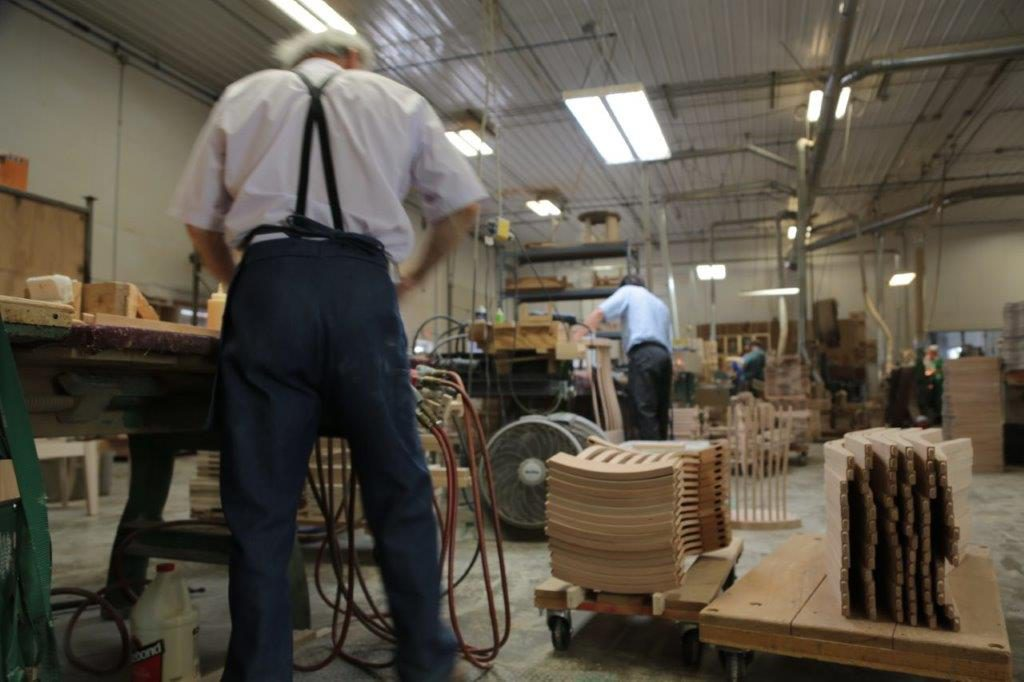 woodworkers building furniture at a woodshop in Indiana.