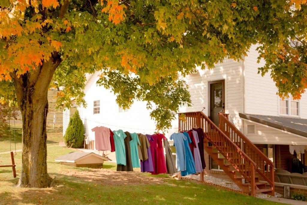 Clothing drying on a clothes line in Amish Country