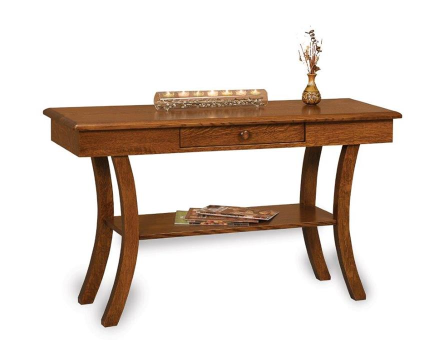Amish Old Classic Sleigh Open Sofa Table with Drawer
