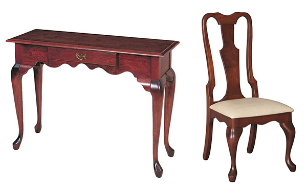 Amish Queen Anne Hall Table and Amish Lancaster Queen Anne Dining Chair