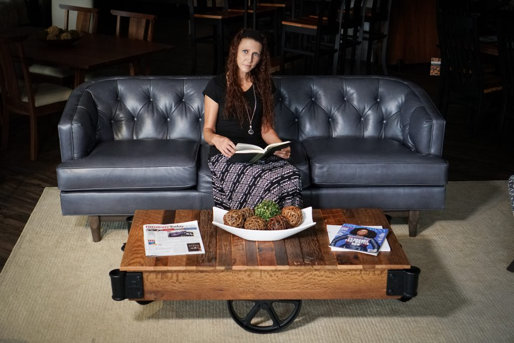 Jennifer Ferdico with our Urban Factory Cart Coffee Table