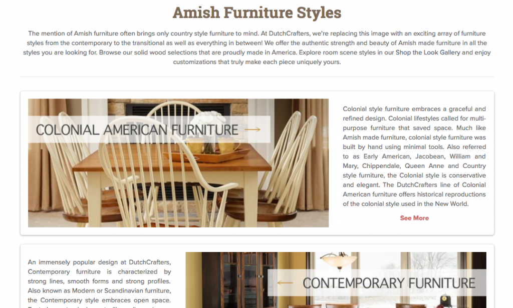 Furniture Styles Page Screenshot