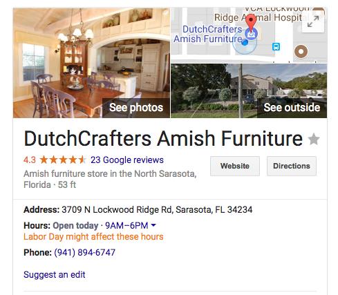 DutchCrafters Google Rating Screenshot