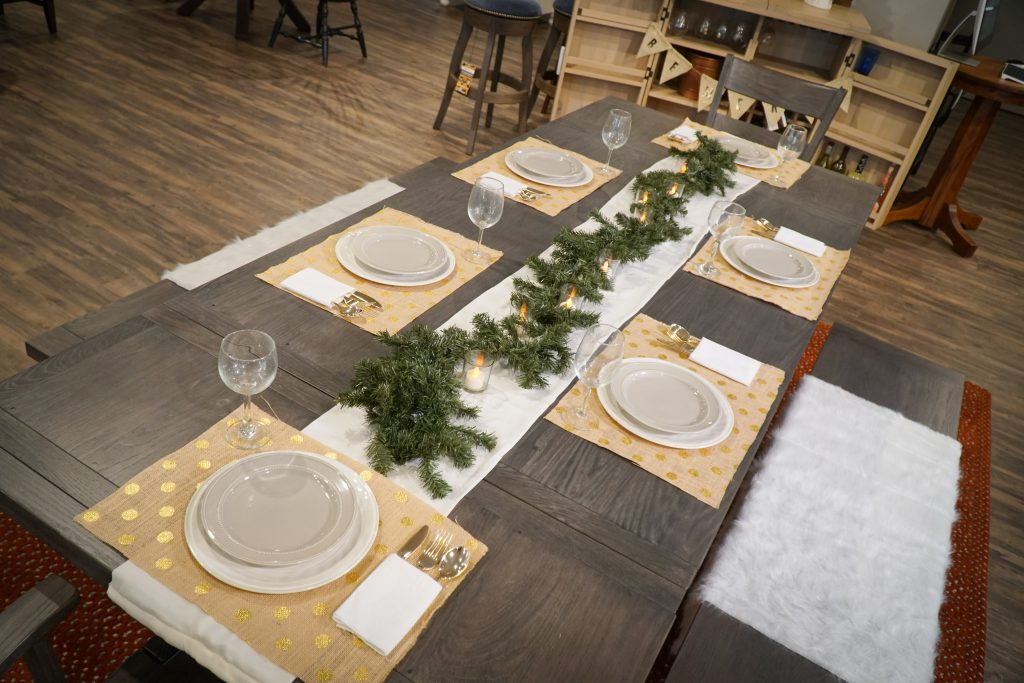Napa Valley Extension Dining Table with tablescape