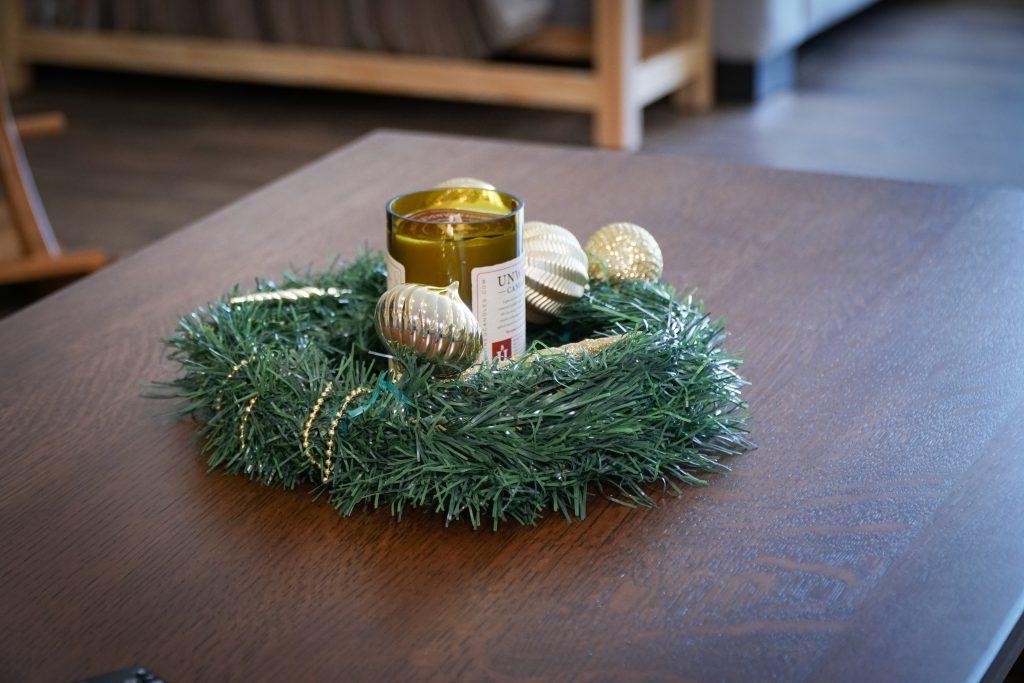 Wreath on McCoy Coffee Table