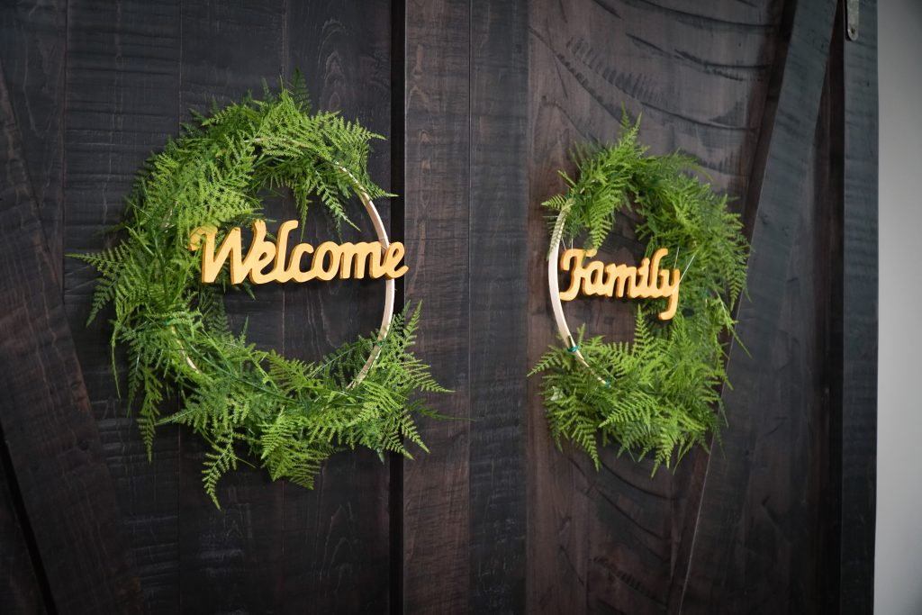 Floral Hoop Wreaths on Original Sliding Barn Doors