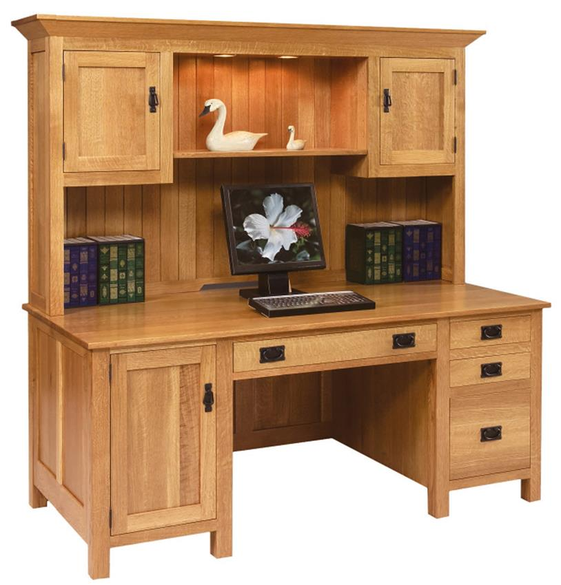 Amish Computer Secretary Desk Armoire Modesto Solid Wood: Amish Desk With Hutch