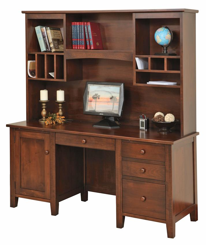 Amish Manhattan Credenza Desk with Optional Hutch Top