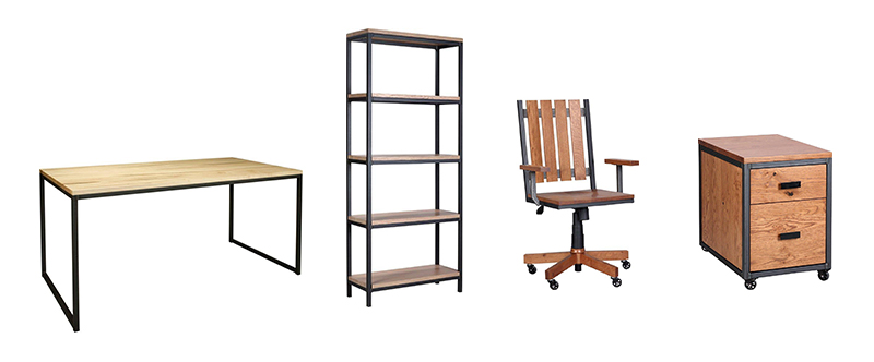 Amish Omni Desk Bookshelf, Chair, and Rolling File Cabinet