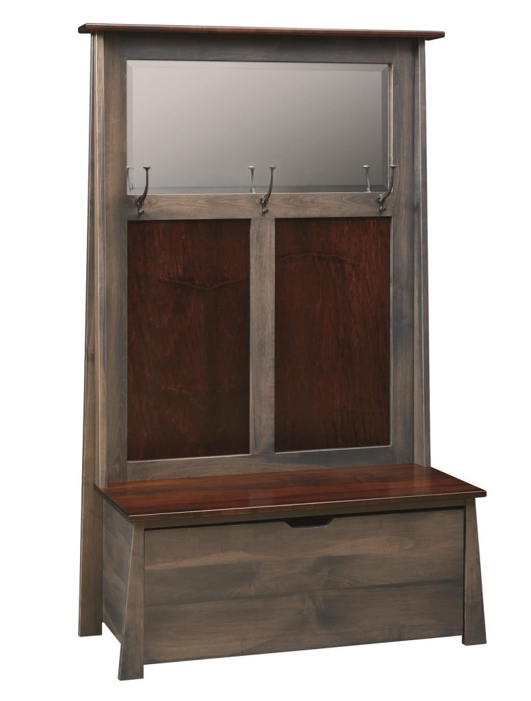 Amish Craftsman Hall Seat with Beveled Mirror