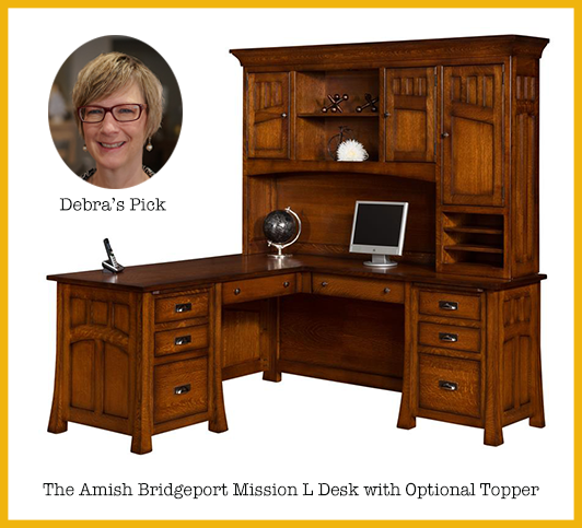 Debra's Pick: Amish Bridgeport Mission L Desk with Optional Topper